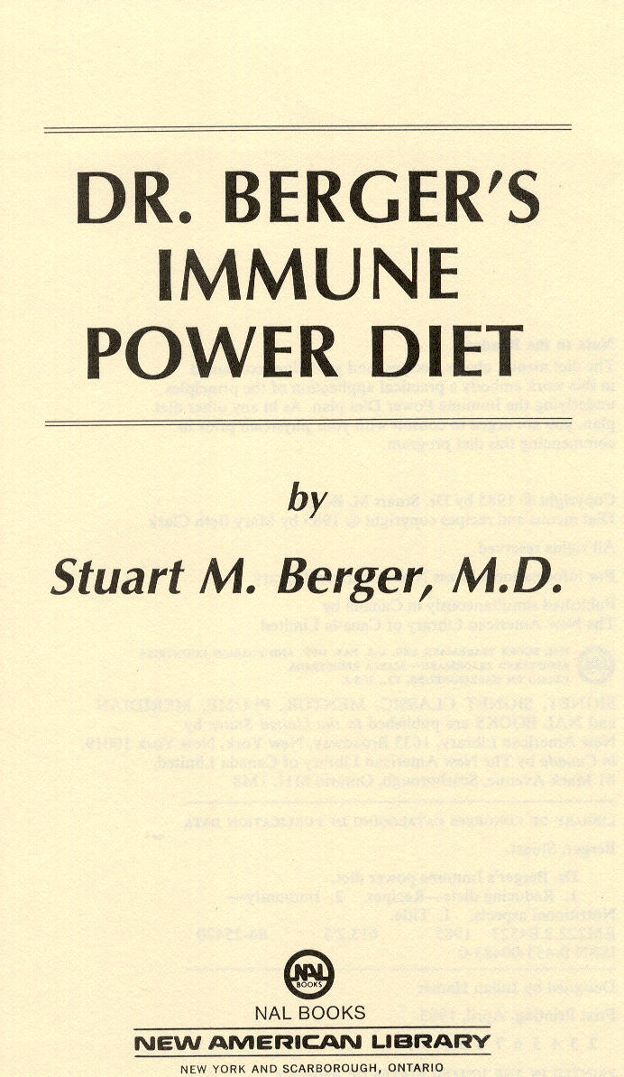 Dr. Berger's Immune Power Diet
