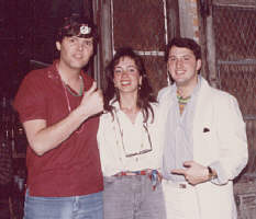 Greg Caton and Kevin Trudeau with 'friend' -- Mardi Gras, New Orleans, 1987